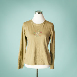 Life Is Good S Green Long Sleeve Leaves Top